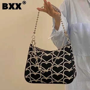 [BXX] Woman New Heart Embroidery Canvas Personality Cool Metal Chains All-match Crossbody Shoulder Bag Fashion Tide 2021 GF0228