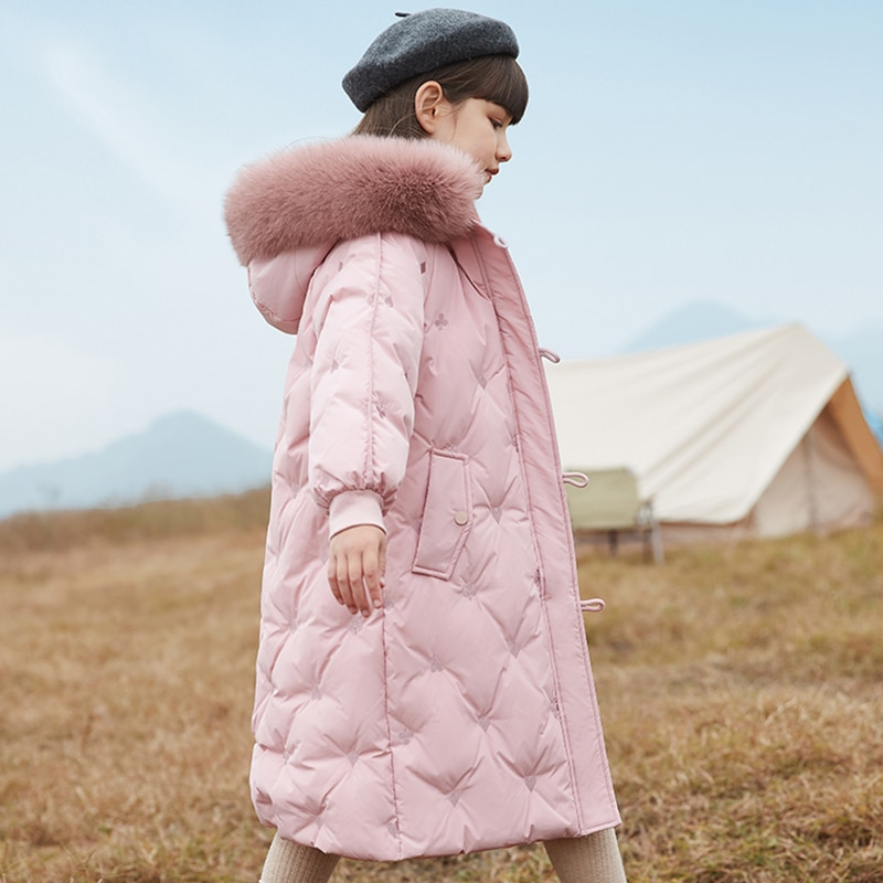 HSSCZL Girls white duck down jackets 2021new winter thicken long style girl coat overcoat outerwear children clothes  hooded fur enlarge