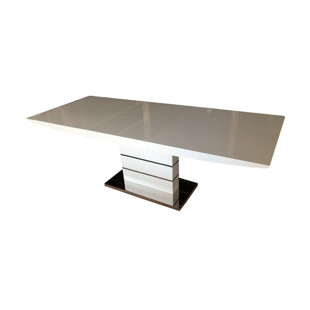 Mesa plegable moderna y minimalista para comedor, juego de comedor de acero inoxidable, color blanco, mesa plegable