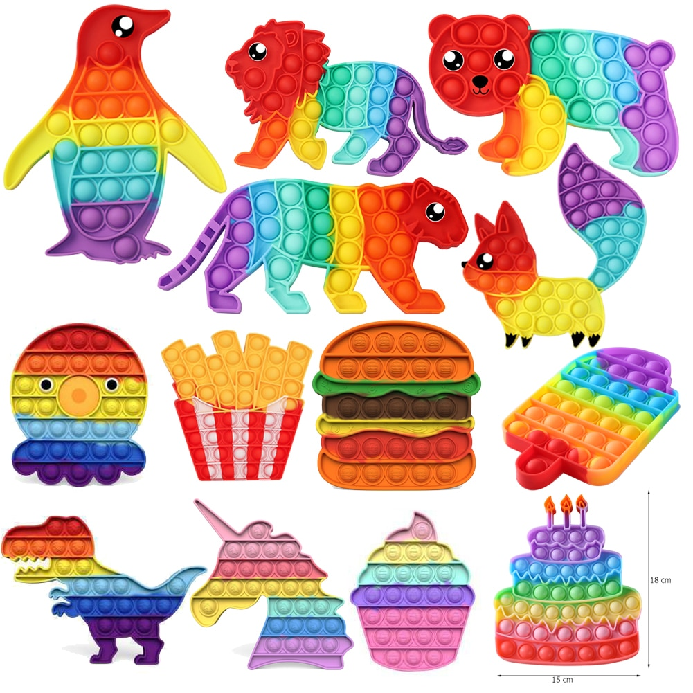 Anti-stress Fidget Toys Rainbow Push Bubble Antistress Toys  Children Sensory Toy To Relieve Autism Dropshipping
