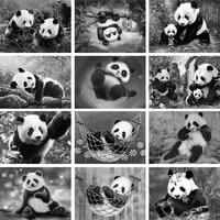 black white cute panda diy diamond painting 5d full square drill handmade mosaic animal embroidery home room decor art