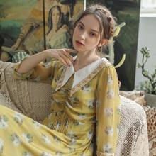 Aigittos femmes robe 2020 printemps été Vintage élégant mince robes femmes robe dété imprimé fleuri jaune robe en mousseline de soie vêtements