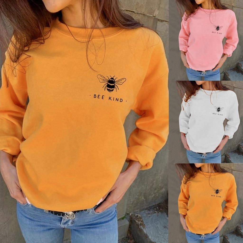 Sudaderas con capucha estampadas para mujer, sudaderas a la moda de otoño, camisetas holgadas informales con estampado de letras de abeja, jersey para mujer, ropa de otoño #3s