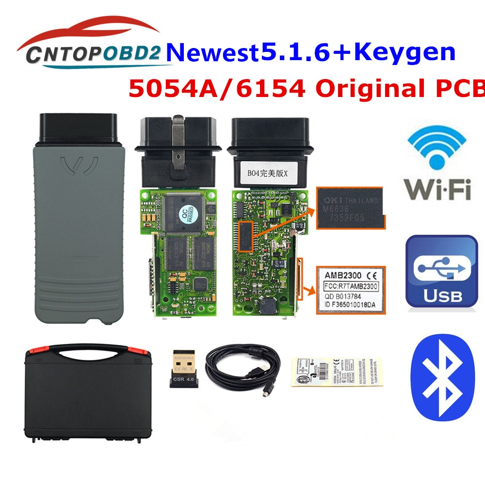 Original 5054A V5.1.6 Free keygen Full OKI Chip AM2300 5054 A  Bluetooth 6154A Support UDS 6154 For OBD2 Car Diagnostic Tool