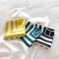 lunadolphin women small square scarf 53x53cm 100 nature silk strip letter print bandanas spring headbands lady kerchief ribbon