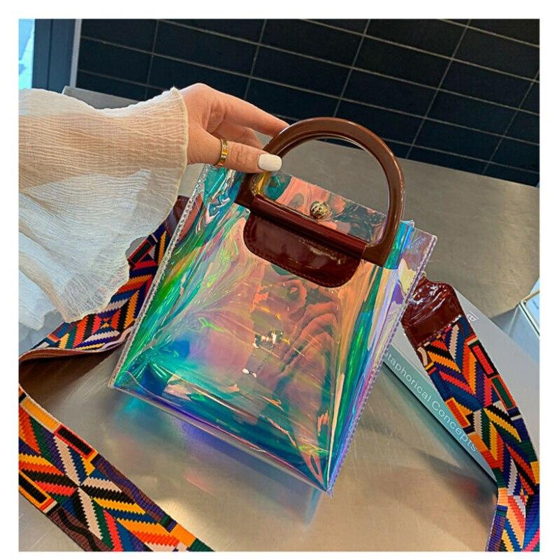 Mode femmes PVC sac à bandoulière transparent fourre-tout gelée sac à main portefeuilles sacoche bandoulière seau sac/par