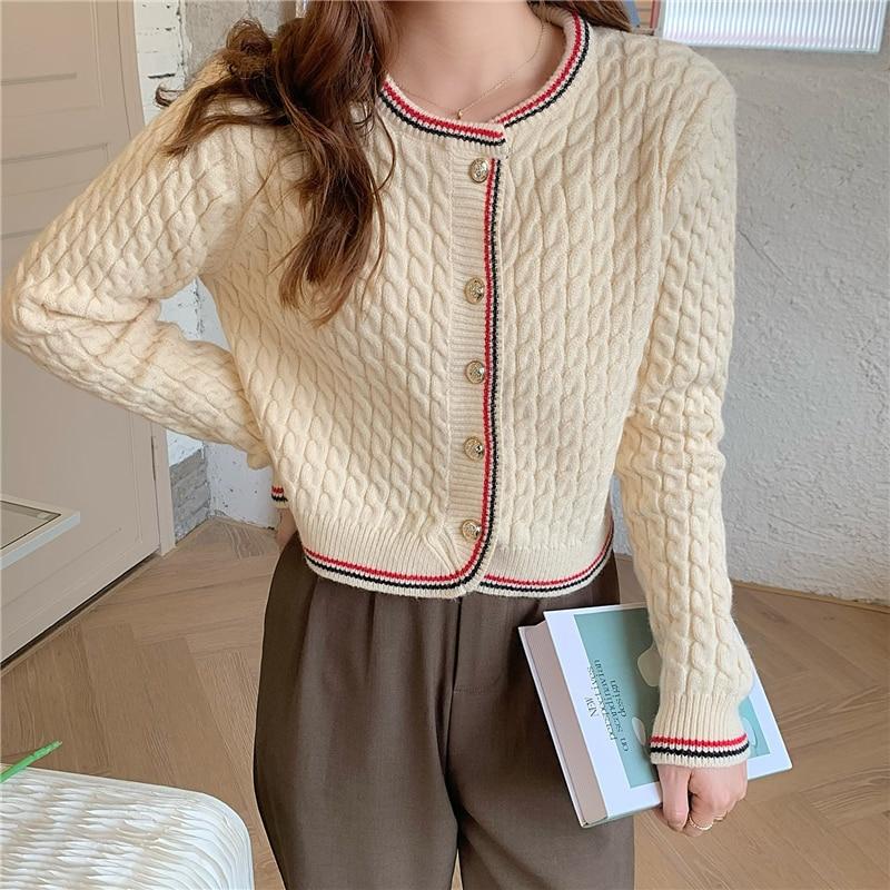 CMAZ 2020 Spring Autumn Women Cardigan Knitted Sweater Jacket Long Sleeve Fashion Knit Cardigans Lad