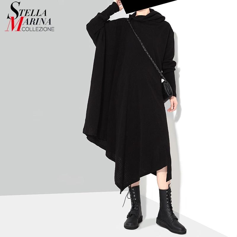 Vestido negro liso de punto largo asimétrico de Otoño Invierno para mujer, suéter, Vestido de manga larga de talla grande, vestido elástico para mujer con estilo 1803