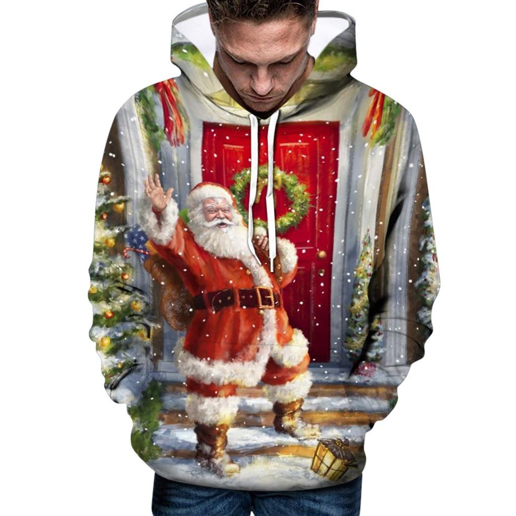 Sudadera con capucha hombre Navidad estampado de Santa Claus sudaderas de manga larga sudaderas con capucha 2020 sudaderas Bts
