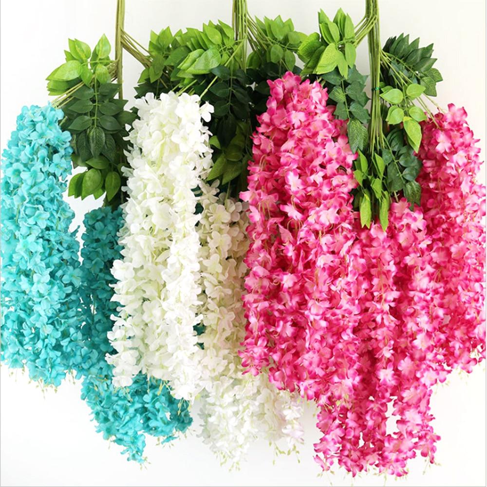 1Pc 30cm glicinia Artificial Hortensia Flowerfor boda fiesta en casa decoración DIY guirnalda de techo de la pared de flores de hortensia