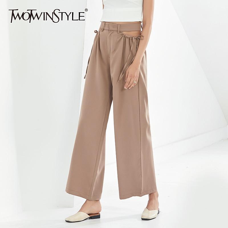 TWOTWINSTYLE كاكي غير رسمي بنطلون للنساء ارتفاع الخصر الجوف خارج مستقيم بنطال ذو قصة أرجل واسعة أنثى 2020 موضة جديدة نمط الملابس