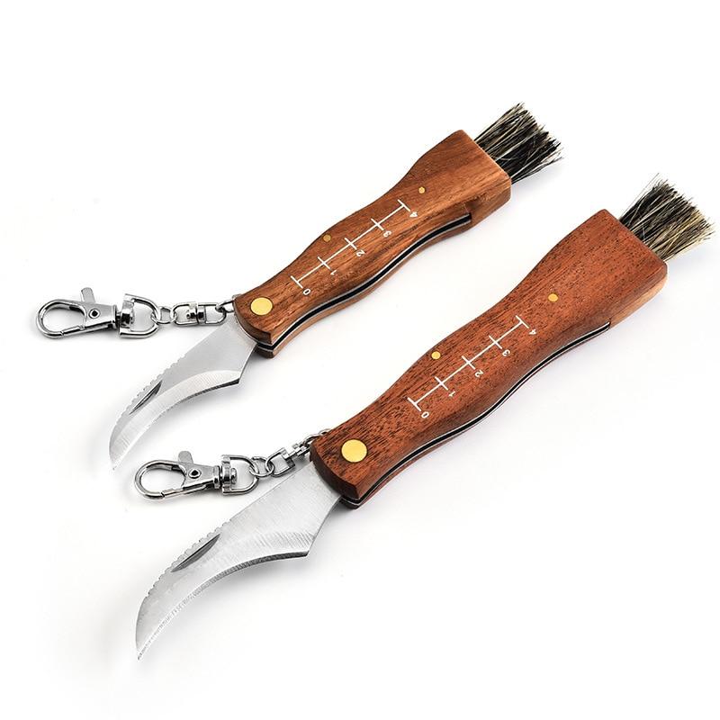 Dobeli Mini Portable multi-function folding knife rosewood handle collecting mushroom knife camping knives with brush tool