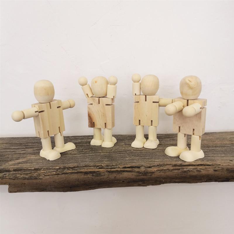 Modelos de figuras, juguete móvil, Mini Robot de madera, juguetes, regalo para niños, decoraciones para el hogar
