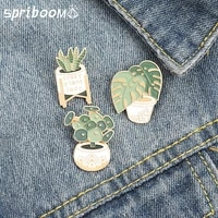 green potted plant enamel pins for women men kids cute energetic fresh leaf brooches lapel pin bag badge statement jewelry gifts