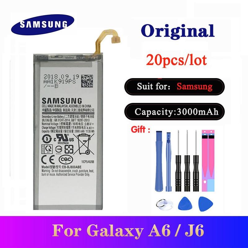 20pcs/lot Original Battery EB-BJ800ABE For Samsung Galaxy A6 (2018) SM-A600 A600F/ J6 J600F Phone High Quality Bateria 3000mAh