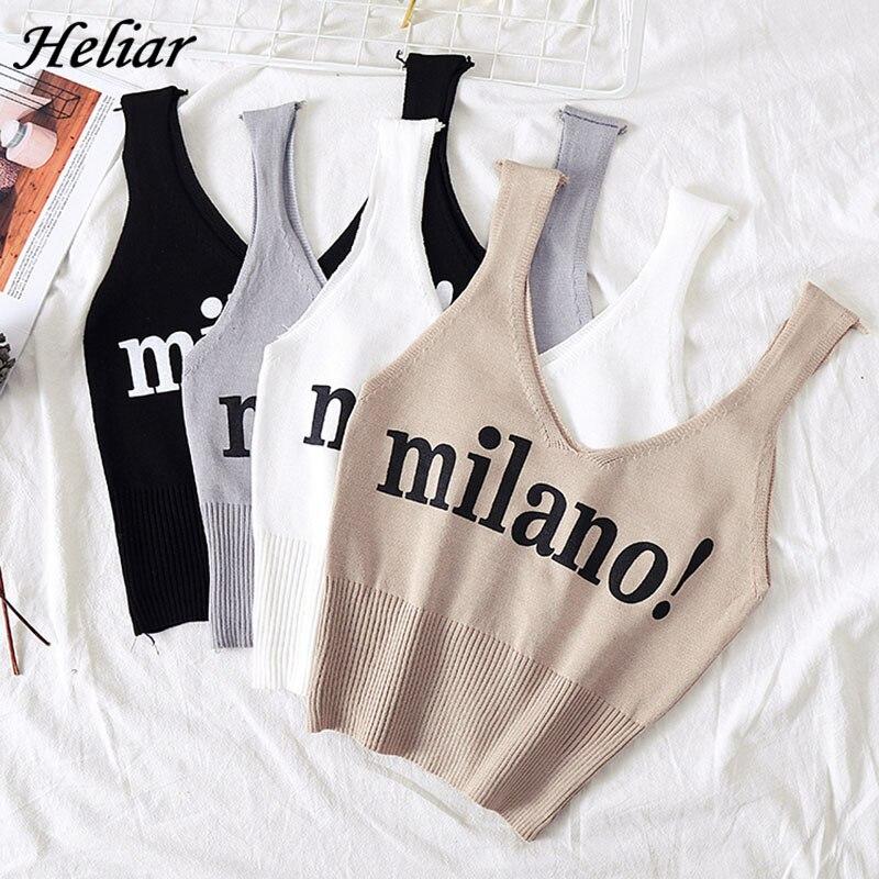 HELIAR Tops Frauen Sexy Crop Top Mode Schriftzug milano Camisoles Dame Chic Weiß Crop Top Femme Gestrickte Sommer Tank Tops frauen