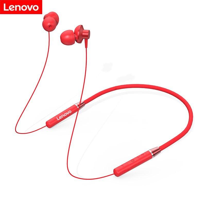 Fone de Ouvido Ruído com Microfone à Prova Original Lenovo Bluetooth Neckband Esportes Tampões Redução Dwaterproof Água Wports Fone He05