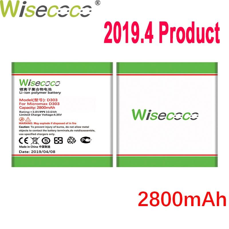 Batería WISECOCO 2800mAh D303 para teléfono móvil Micromax D303 en Stock batería de alta calidad de última producción + número de seguimiento