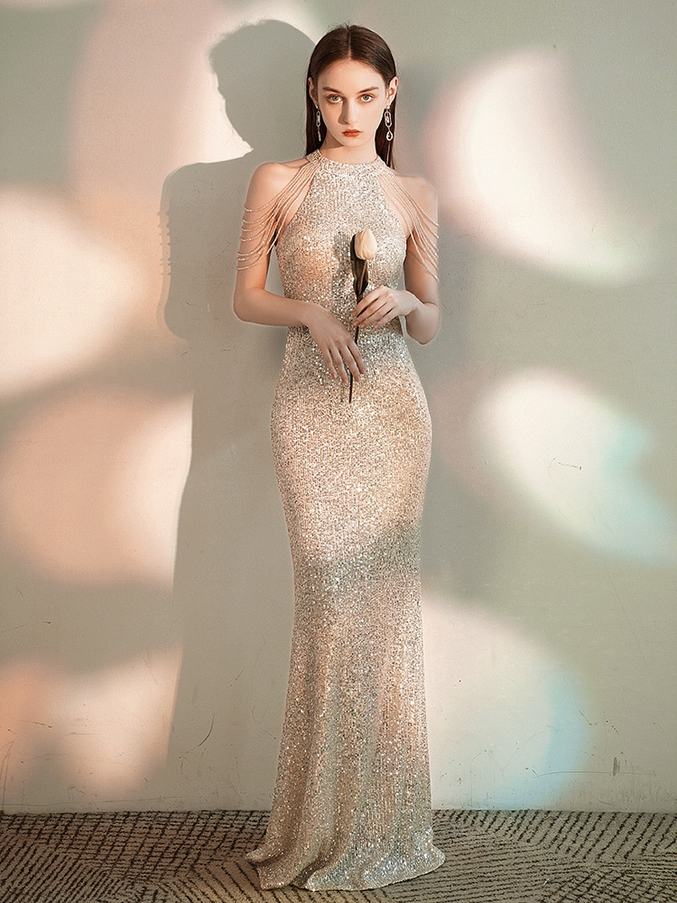 Mermaid Evening Dress 2020 New Fashion Shinning Sequins Sexy Off the Shoulder Beading High Neck Prom