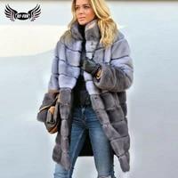 fashion color stitching 90cm long real mink fur coats for women winter outwear warm natural mink fur jacket genuine fur coat