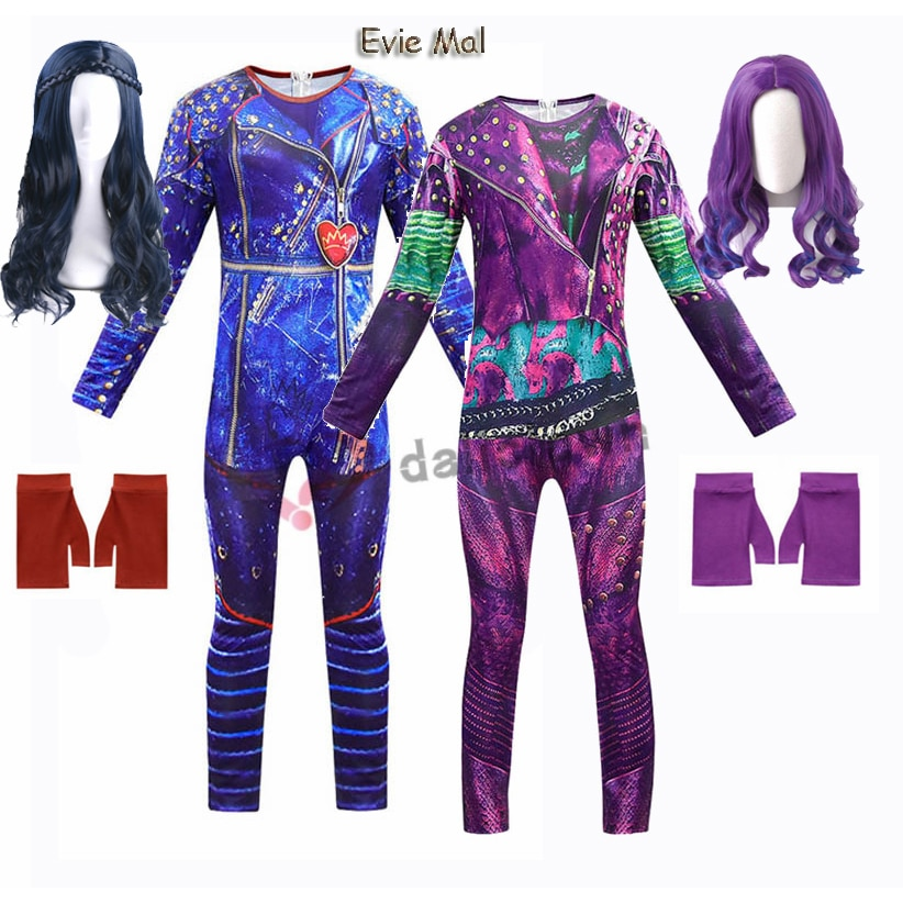 New Kids Halloween Costume For Girls Evie Mal Descendants 3 Cosplay Costumes With Wig Children's Car
