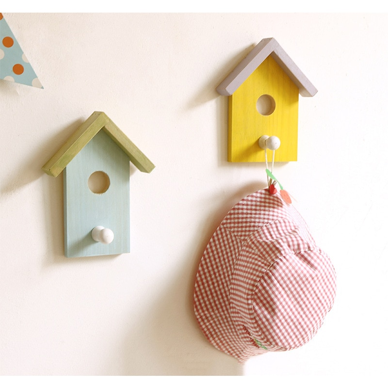 Wooden Small House Coat Hook Wall Decoration Hook Bag Hanging Girl Heart Wall Hanging Color House Wall Decoration