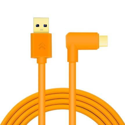 Cable de datos USB 3,0 a USB-C (naranja de alta visibilidad) de alta velocidad 3,0 Tiro en línea Typec codo línea de tiro A7R3 A7M