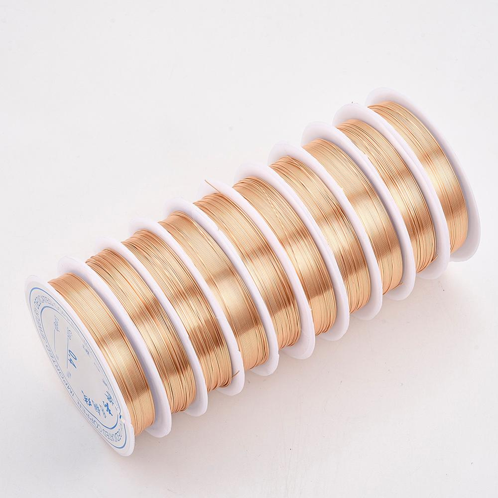 1 rollo, 0,2/0,3/0,4/0,5/0,6/0,7/0,8mm, alambre de cobre para joyería, cuerda para artesanías, chapado de larga duración, Color dorado y plateado