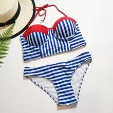 Mavi ve beyaz çizgili Bikini seksi Bandeau Push Up mayo 2019 yaz bayanlar yastıklı Halter mayo kadın plaj mayo