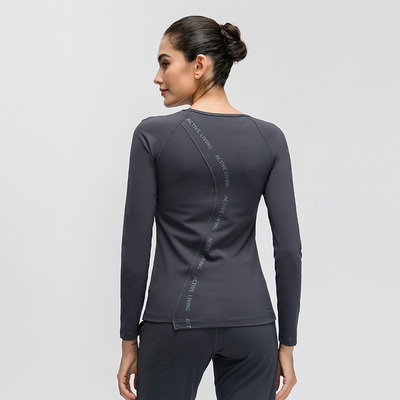 Eshtanga yoga shirts sexy tank Women autumn long Sleeve Sports T Shirt Fitness Gym Running shirt Quick Dry Yoga elastic tops