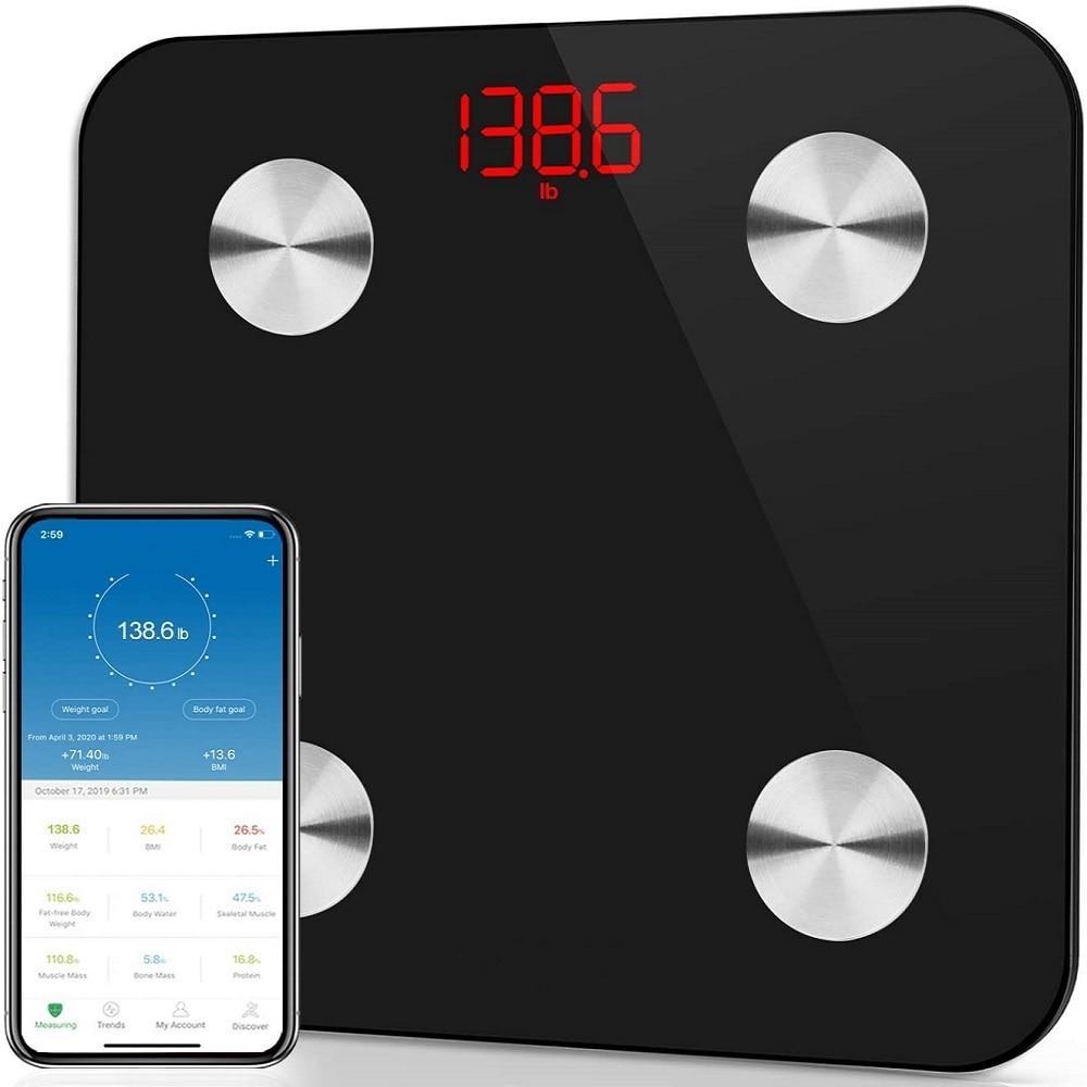 Airmsen مقياس الدهون في الجسم بلوتوث-متوافق مقياس الوزن المنزلية قياس ميزان إلكتروني مقياس BMI الذكية ميزان حمام
