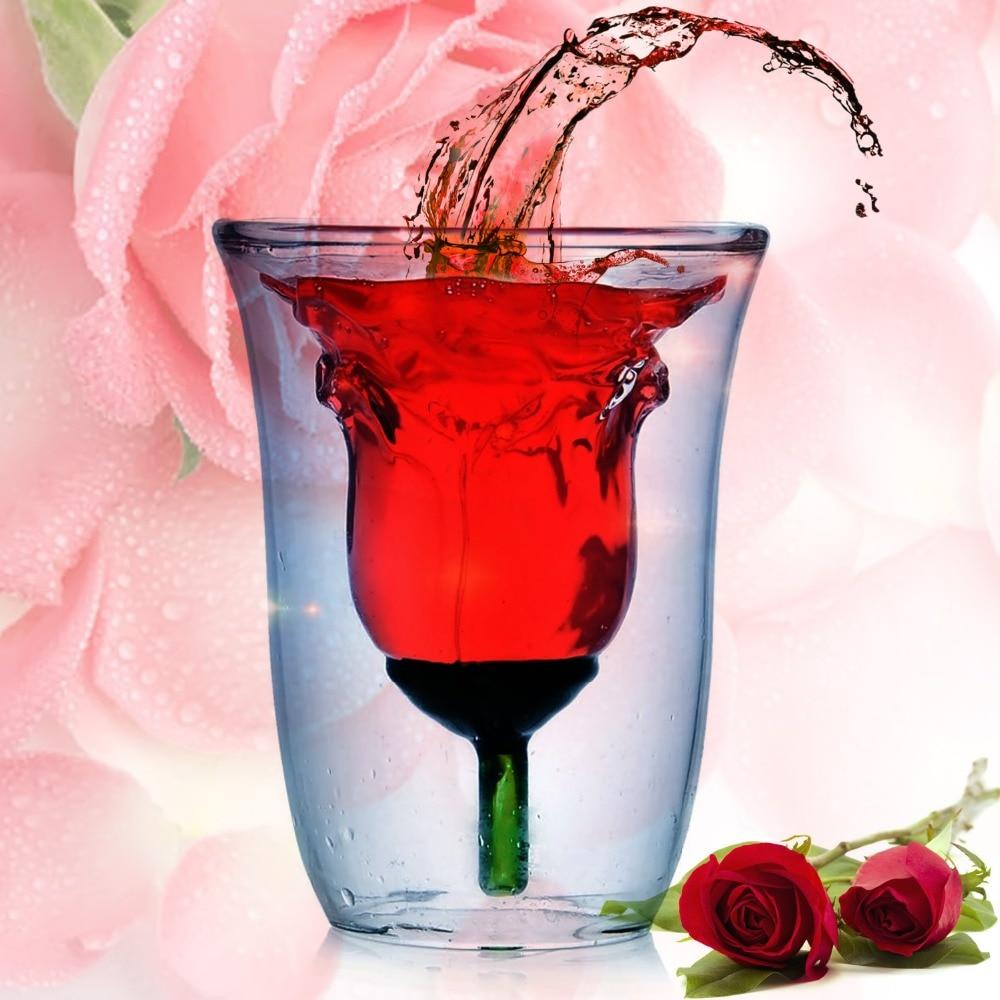 Copa de vidrio de doble pared creativa Rosa copa de vino whisky vasos transparentes 180ml para whisky Brandy vino Vodka cerveza cóctel ron