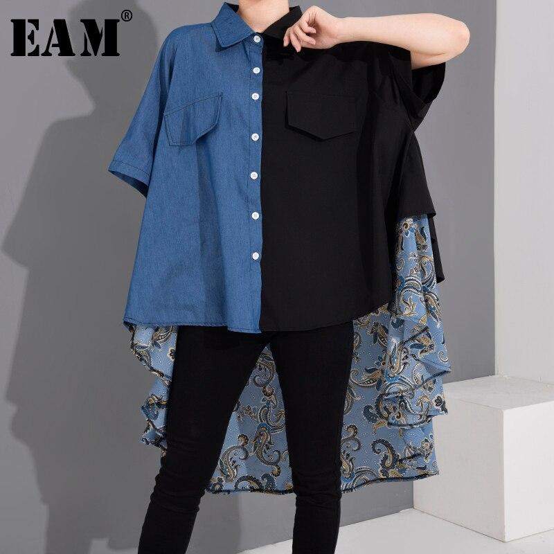 [EAM las mujeres impresa Denim larga de gran tamaño blusa solapa nueva manga tres cuartos camisa de moda Primavera Verano 2020 1W558