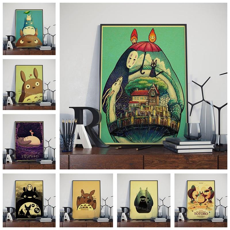 Hayao Miyazaki animé japonés Chinchilla decoración de dibujos animados estilo retro arte película guardería niños carteles de habitaciones lienzo pintura M537