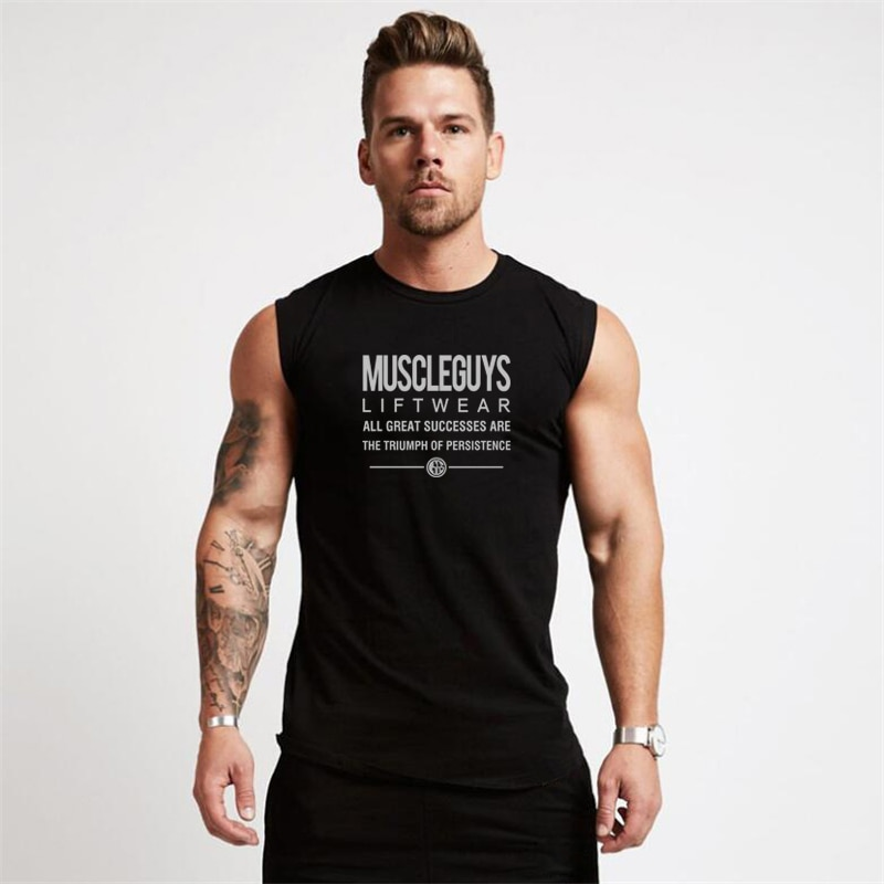Muscleguys Bodybuilding Stringer Tank Top Men Gym Clothing Fitness Mens Sleeveless Vests Cotton Sing