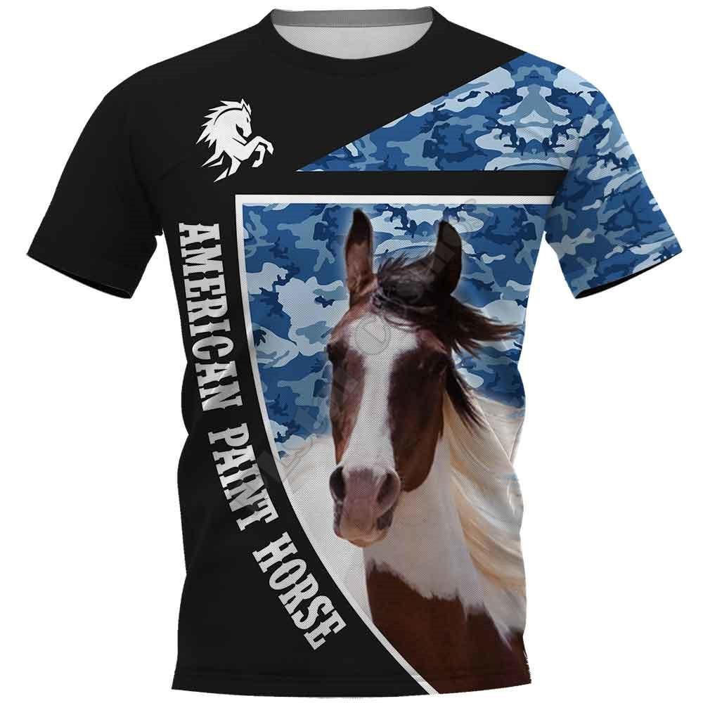Американский краски лошадь 3D печатных футболки для женщин для мужские летние повседневные футболки с коротким рукавом футболки забавные ж...
