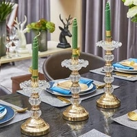 luxury nordic ins style alloy candlestick crystal glass golden candlestick dining table decor wedding centerpiece candle holders