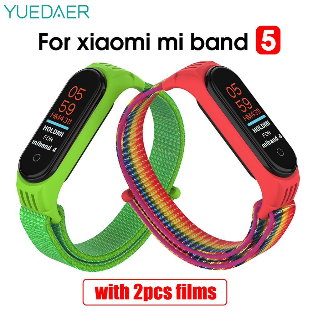 YUEDAER-Correa de nailon para Xiaomi Mi Band 5, pulsera deportiva, varilla transpirable estable con marco y correa para Mi Band 5