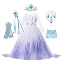 frozen elsa princess girls cosplay dress princess kids fancy snow queen cosplay costume birthday party anna elsa gift costume