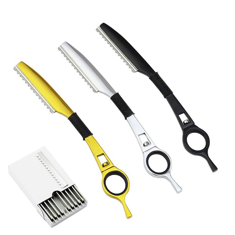 Univinlions noir argent or amincissement cheveux lame de rasoir droit salon de coiffure rasoir coupe-cheveux rotatif barbier coupe de cheveux