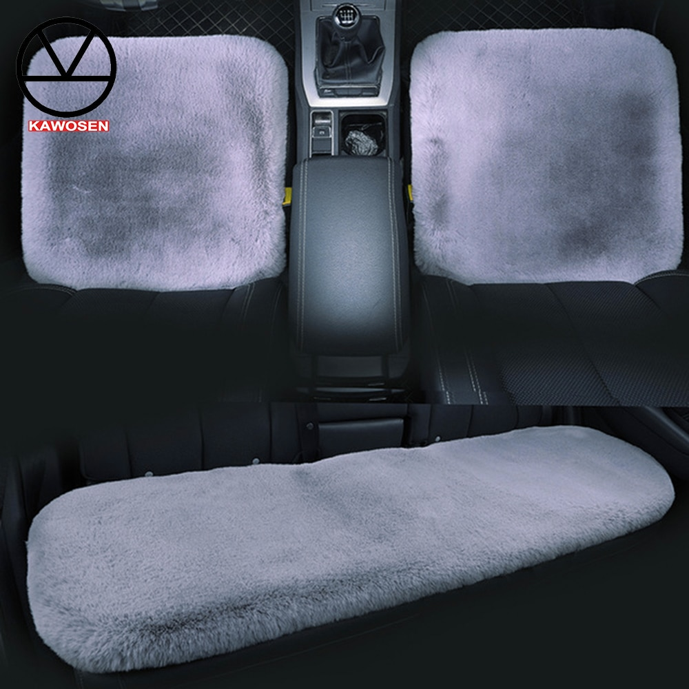 KAWOSEN 3 unids/set funda de piel sintética de conejo para asiento de coche, accesorios interiores bonitos para el coche, funda de cojín con estilo, fundas de asiento de felpa FFSC03