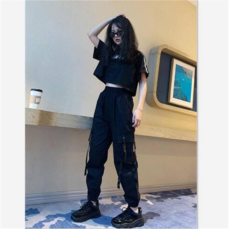 Harajuku Streetwear Cargo Hosen Frauen Casual Jogger Schwarz Taille Lose Weibliche Hose der Koreanischen Damen Hosen Capri Herbst Hosen