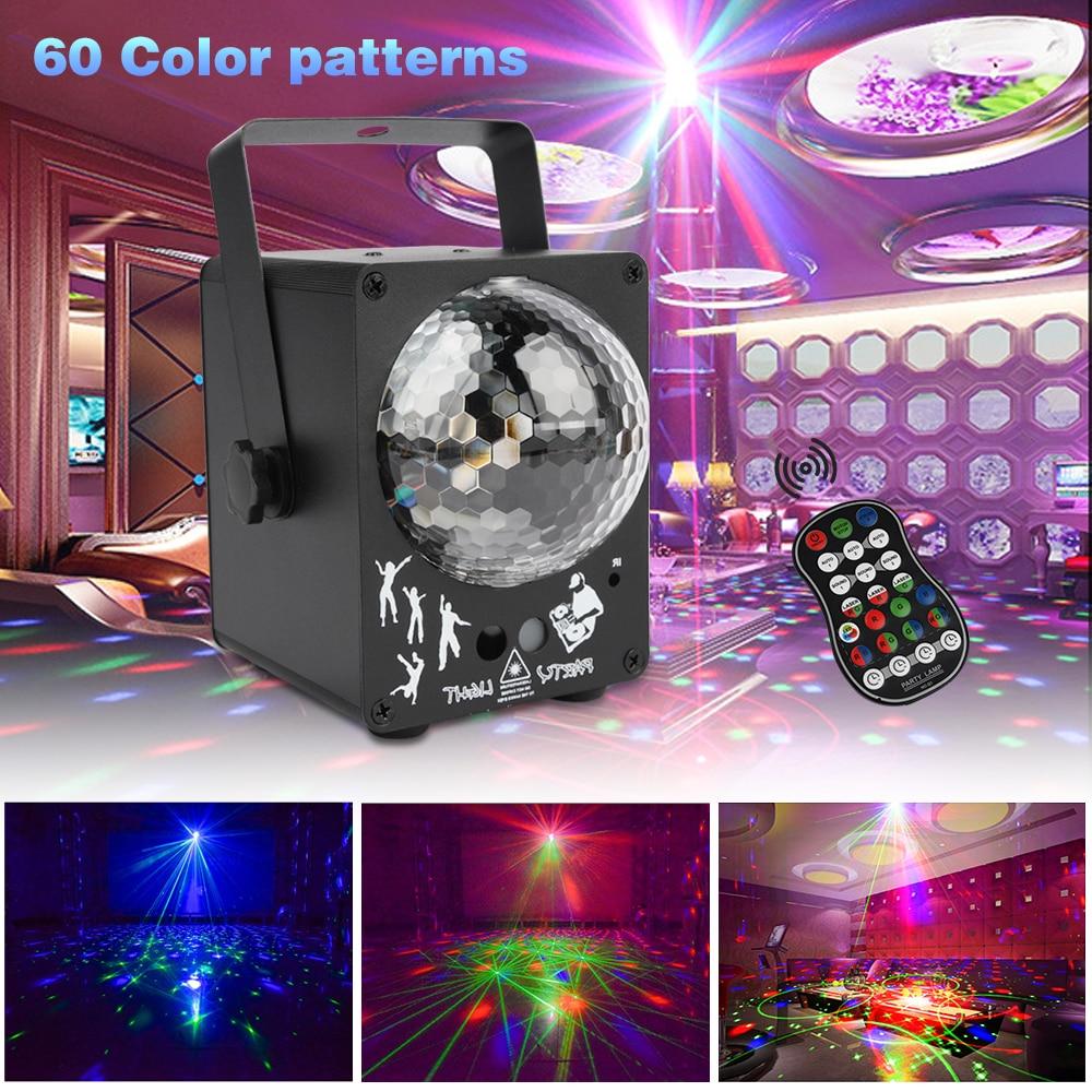مصباح ليزر LED للديسكو ، 60 نمط RGB ، موسيقى DJ ، إضاءة المسرح ، الإضاءة ، الديكور المنزلي ، الزفاف