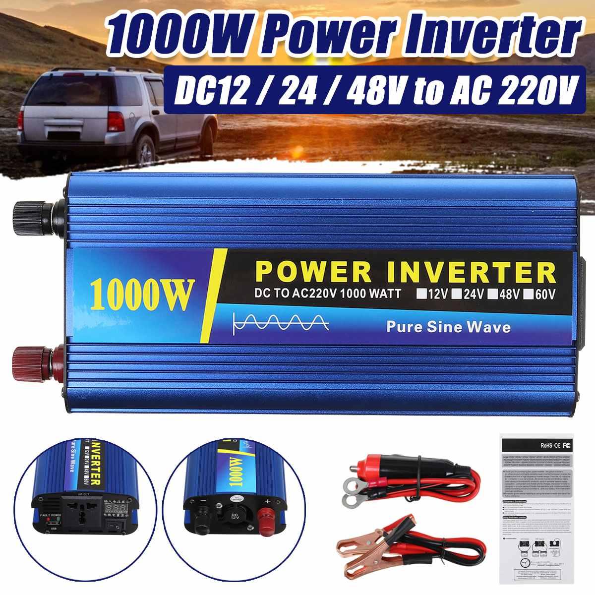 Автомобильный синусоидальный преобразователь, 1000 Вт, 12/24/48 В переменного тока, 220 В, USB-выход, бытовой автомобильный инвертор, модифицированн...