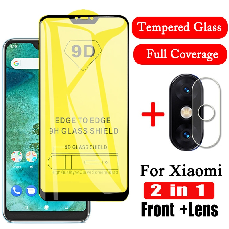 2 in 1 9D Camera Len Tempered Glass for Xiaomi xiomi mi 9 Screen Protector for Xiaomi A2 A3 Lite Mi 8 Mi9 Mi9 se Lite Glass Film