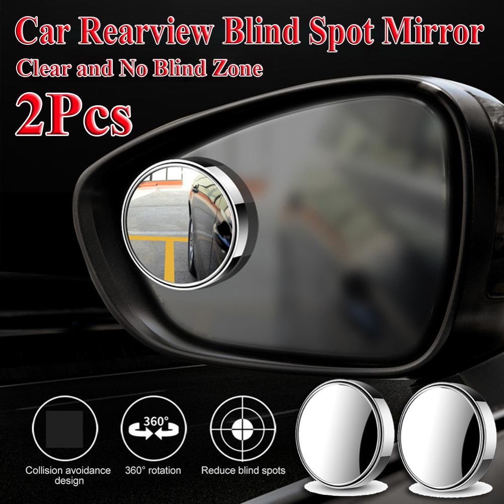 2 espejos convexos redondos de gran angular para coche, espejo retrovisor HD sin marco, espejos ciegos de 360 grados de ancho para estacionamiento de coches