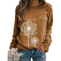 dandelion printed hoodie sweatshirt women autumn long sleeve round neck casual top pullover fashion vintage clothes sport tops