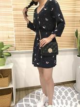 Women Shirt + Skirt Trefoil Printing Shirt with Nice Buttons 100% Viscose Dark Blue Top + Mini Skirt Sets
