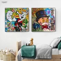 graffiti artwork of alec monopoly abstract money dollars oil paintings on canvas wall posters and prints for modern home decor