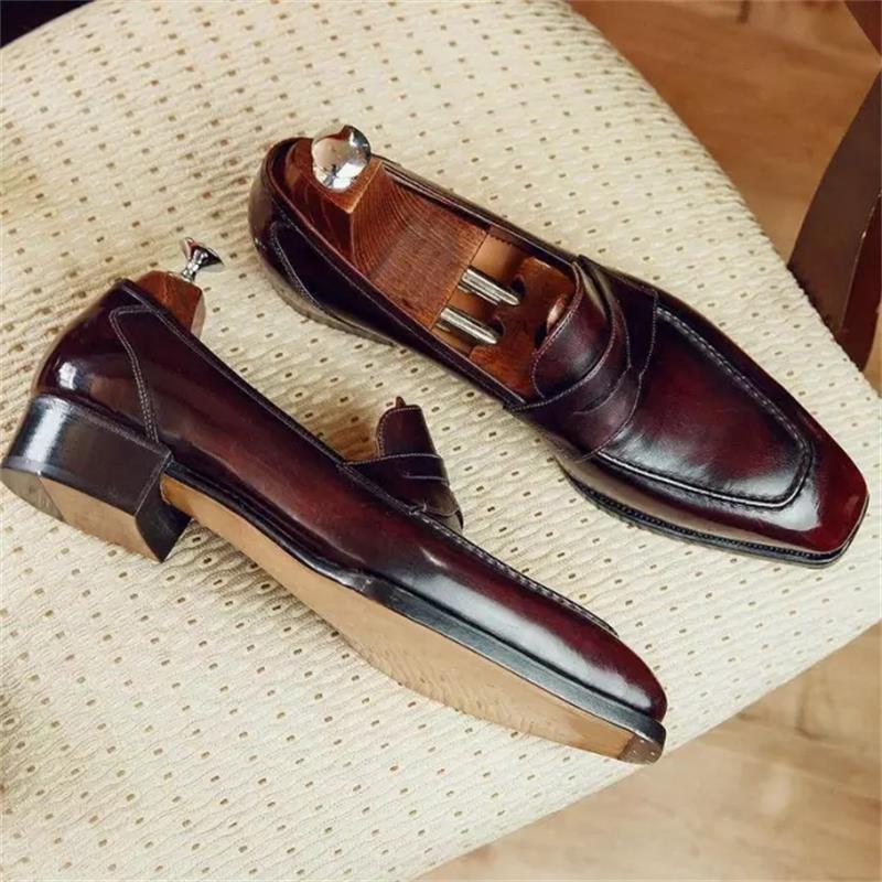 جديد الرجال الموضة عادية الأعمال مأدبة فستان أحذية البني والأحمر بولي PU اليدوية الكلاسيكية قناع الوجه رئيس مربع دواسة واحدة المتسكعون 3KC507